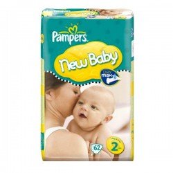 Pack de 62 Couches Pampers New Baby de taille 2 sur 123 Couches